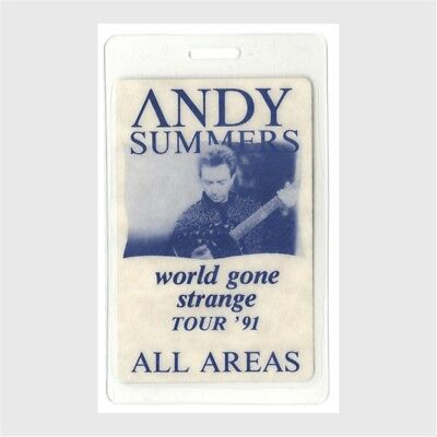 Andy Summers authentic 1991 Laminated Backstage Pass World Gone Strange Tour AA