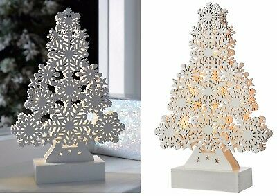 Light Up Snowflake White Wooden Tree Ornament Table Christmas Decoration 40cm
