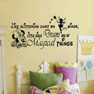 Little Girls Dreams Letter Minnie Mouse Wall Stickers Girls Room ...