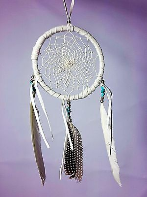 DREAM CATCHER Dreamcatcher Suede Beads BOHO - WHITE (DC-198) Turquoise