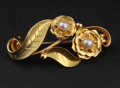 Vintage Georg Jensen 18 Ct Yellow Gold Brooch w. Pearls # 305. 1930s VERY RARE!