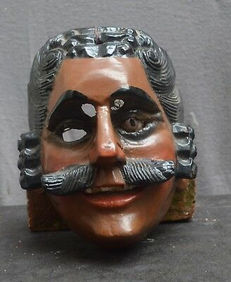 Rare antique Mexico procession wood mask, man with one eye