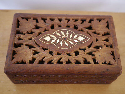 Vintage Hand Carved Ethnic Floral Inlay Solid Wood Wooden Jewelry Trinket Box