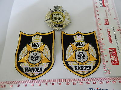 2 Original Issue WA Ranger Patches & 1 Hat Badge mid 80's obsolete
