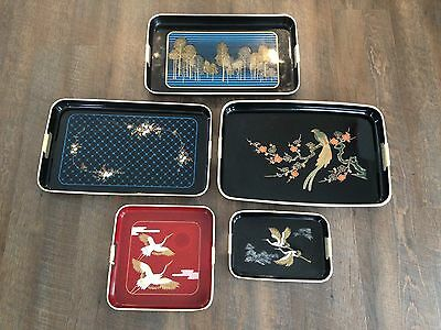 Vintage Japanese Serving Tray Collection Black Lacquer Cranes Trees Birds Asian