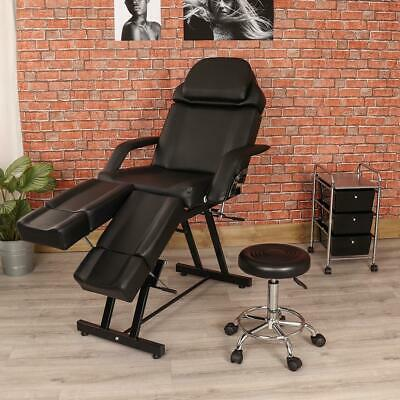 Black Manual Pedicure Chair Side Trolley Drawer And Stool Couch Set Salon Beauty