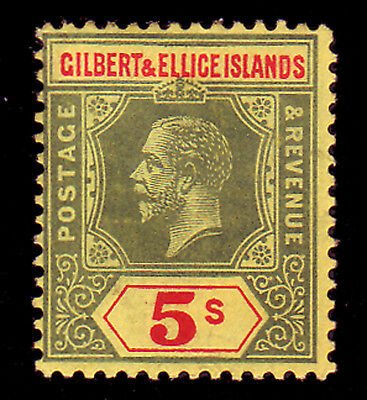 Gilbert & Ellice. Sg 23, 5/- Green & Red/yellow. Mounted Mint.