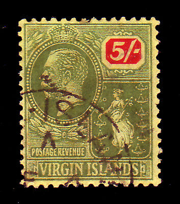 Virgin Islands. Sg 85, 5/- Green & Red/pale Yellow. Fine Used.
