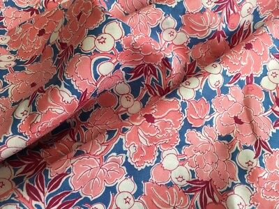 Beautiful Genuine Vintage 1950s Pink & Blue Floral Cotton Fabric 2.4m x 88cm