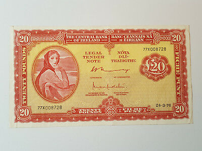 Central Bank of Ireland Lavery £20 Banknote Murray Murchu 24.3.76 77X 008728 VF
