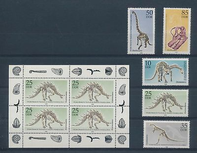 LH21386 Germany DDR skeletons prehistoric dinosaurs fine lot MNH