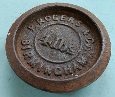Antique 4lb Cast Iron Weight - marked 'P. Rogers & Co, Birmingham'
