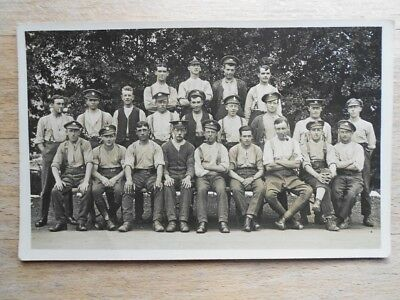 Old postcard WW1 era, group of soldiers, great faces, different cap badges, RP