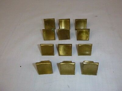 12 Vtg Square Concave Drawer Pulls Cabinet Hardware Heavy Reclaimed Brass Tone
