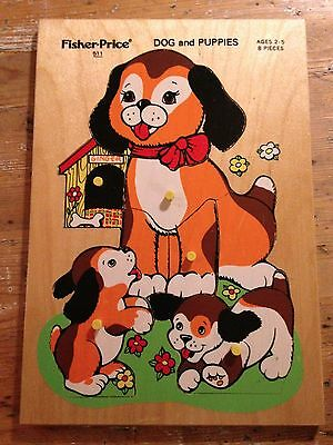 Fisher Price Vintage Dog & Puppies board peg puzzle 511 wooden 1970s wood toy