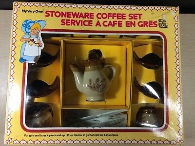 Ceramic Stoneware Toy Coffee Tea Set PAX In Box Wheat Pattern Miniature 17 Piece