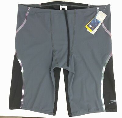New SPEEDO Fitted Jammer Swim Shorts PowerPlus Black/Gray Compression XL New A