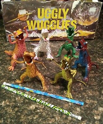 VTG. Kids Pencil Holder UGGLY WUGGLIES Creatures from Another World Set of 6