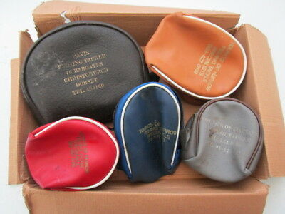 5 x Vintage Centrepin REEL POUCHES. Various Colours & Sizes as Listed. LOOK...