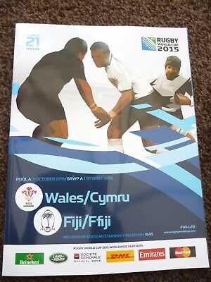 WALES v FIJI RUGBY WORLD CUP 2015 OFFICIAL PROGRAMME- CARDIFF-MATCH 21