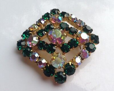 Costumes Jewelry Green And Iridescent Rhinestone Gold Tone Pin Brooch, Vintage