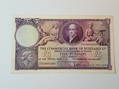 Commercial Bank of Scotland £5 Banknote - 17U 000 260 2 January 1957 SC414b VF+