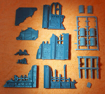 warhammer 40k scenery gothic ruins - buildings off sprue unassembled + extras