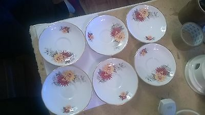 6 x ROYAL STAFFORD DAHLIA  SAUCERS I WILL SPLIT!