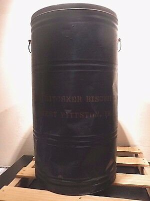 """VINTAGE HITCHNER's Biscuit Co W. Pittston PA 28"""" Tall Metal Tin Can Advertising"""