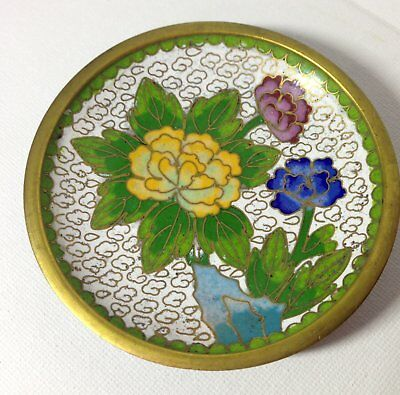 Old Small Round Vintage Chinese Brass Cloisonne Dish With Flower Design