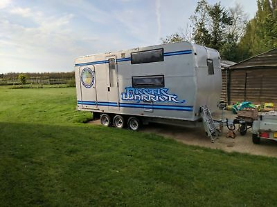 Winter expedition off-grid track day bespoke motobike trailer with rear 'garage'