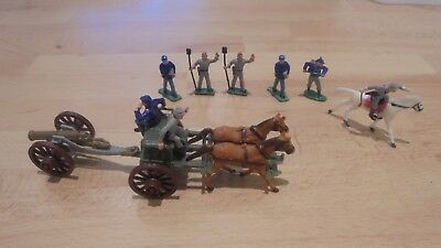 hard plastic painted 30mm acw gun limber and crew 1861-65 by marx