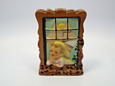 Vintage Japan Boy at Window Wall Pocket