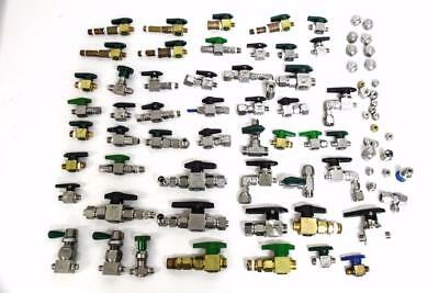 Superlok, Swagelok, and Hy-lok Lot of Valves, Open Close Joints, and Caps (4803)