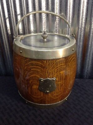 Nice Antique English Carved Oak Biscuit Cookie Barrel Jar