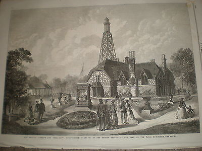 France Paris Exhibition the English Cottage and boiler house 1867 old print