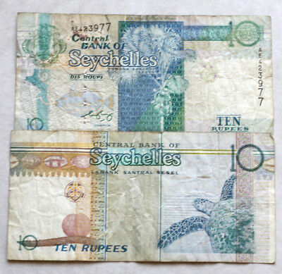 2x10 Rupees, Bank of Seychelles, 1998.