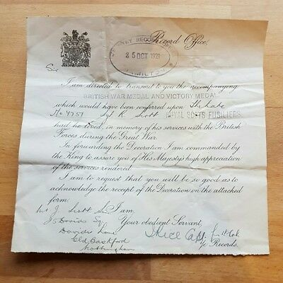 Brilliant WW1 Original Victory & War Medal Issue Entitlement Death Slip