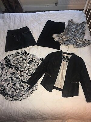 Girls River Island bundle, leather jacket, blouse, x2 skirts and top Age 8