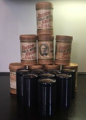 Lot of 8 Edison Blue Records-Cylinders Plus 8 Non Matching Canisters.