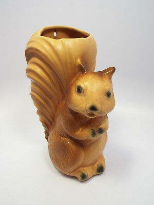 Vintage USA Pottery Large Squirrel Satin Finish Wall Pocket, 243-F