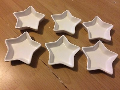 Christmas Star  White Porcelain Party Savoury Dips Dishes x 6 FREE P&P