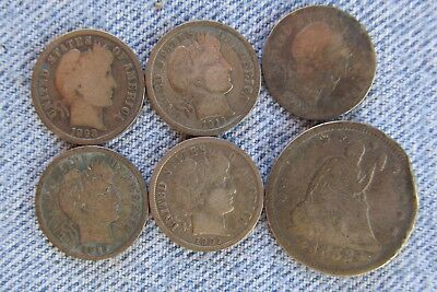 5 x Barber Dimes & an 1853 Quarter damaged - Bullion or Swap - Old cleaning (6)