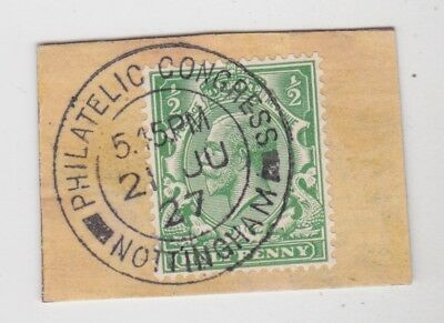 Gb Stamps 1927 Philatelic Congress Nottingham Postmark On Piece From Collection