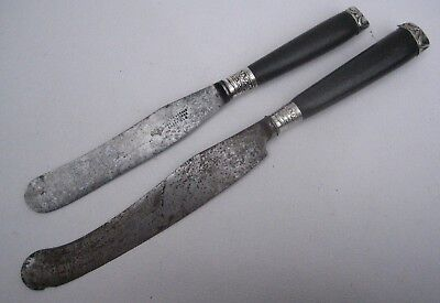2 Antique George III Steel Table Knives Ebony Handle, Silver Mask Caps c1780