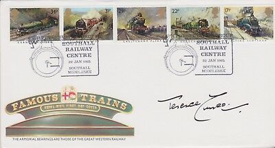 Gb Stamps 1985 Railway First Day Cover Signed By Artist Terence Cuneo