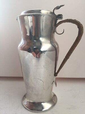 Antique Silver Plated Hot Water Jug Pitcher With Wicker Handle