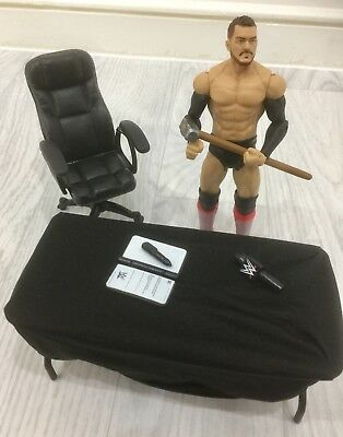 WWE MATTEL BALOR figure BREAKABLE TABLE CLOTH ROTATING CHAIR HAMMER CONTRACT MIC