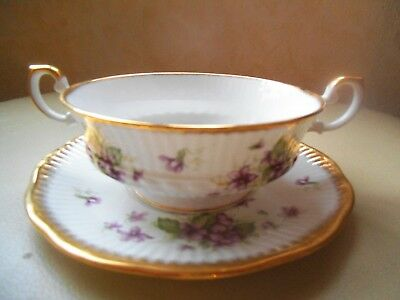 QUEEN'S ~ ROSINA CHINA ~ VIOLETS Soup Coupe & Saucer BONE CHINA ENGLAND  VGC