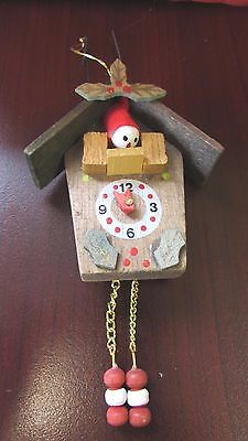 "Vintage Wood Wooden Cuckoo Clock Ornament with Little Elf Head, 4"" ADORABLE!"